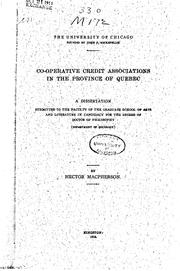 Cover of: Co-operative credit associations in the Province of Quebec