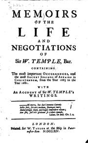 Cover of: Memoirs of the life and negotiations of Sir W. Temple, bar