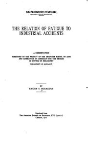 Cover of: The relation of fatigue to industrial accidents