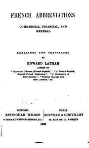 Cover of: French abbreviations