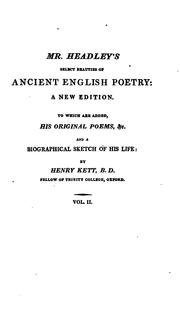 Cover of: Select beauties of ancient English poetry