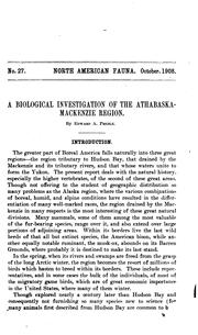 Cover of: A biological investigation of the Athabaska-Mackenzie region