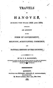 Cover of: Travels in Hanover, during the years 1803 and 1804