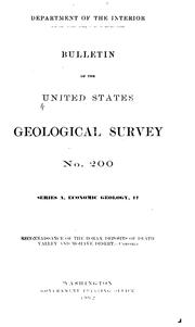 Cover of: Reconnaissance of the borax deposits of Death valley and Mohave desert
