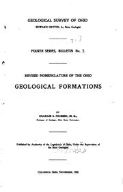 Cover of: Revised nomenclature of the Ohio geological formations