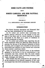 Cover of: Some facts and figures about North Caolina and her natural resources