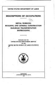 Descriptions of occupations by United States. Bureau of Labor Statistics.