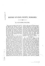 Cover of: An historical sketch of Knox County, Nebraska