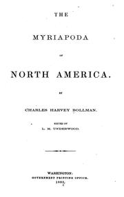 Cover of: The Myriapoda of North America