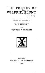 Cover of: The poetry of Wilfrid Blunt