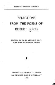Cover of: Selections from the poems of Robert Burns