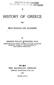 Cover of: A history of Greece for high schools and academies