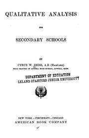 Cover of: Qualitative analysis for secondary schools