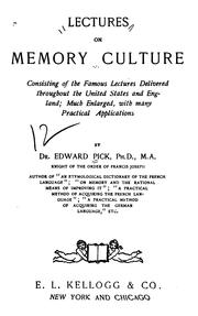 Cover of: Lectures on memory culture