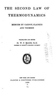 Cover of: second law of thermodynamics | Magie, William Francis