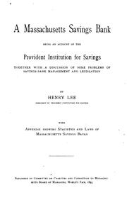 Cover of: A Massachusetts savings bank by Lee, Henry