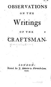 Cover of: Observations on the writings of The craftsman