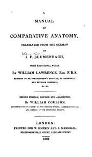 Cover of: A manual of comparative anatomy