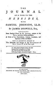 Cover of: The journal of a tour to the Hebrides with Samuel Johnson