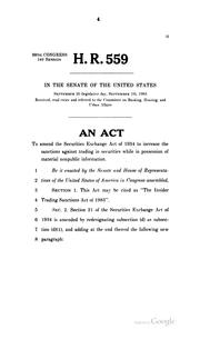 Cover of: The Insider Trading Sanctions Act of 1983