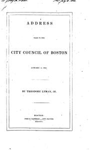Cover of: Address made to the City Council of Boston, January 5, 1835