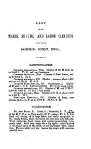 Cover of: List of the trees, shrubs and large climbers found in the Darjeeling District, Bengal