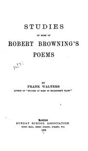Cover of: Studies of some of Robert Browning