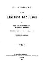 Cover of: Dictionary of the Kiniassa language