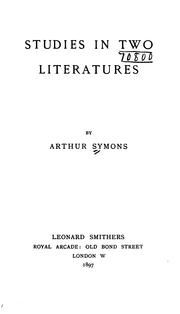 Cover of: Studies in two literatures