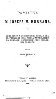 Cover of: Pamiatka dr. Jozefa M. Hurbana