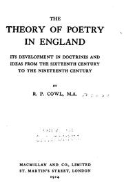 Cover of: theory of poetry in England | R. P. Cowl