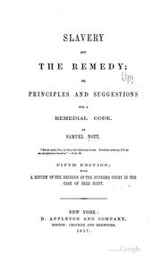 Cover of: Slavery, and the remedy