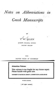 Cover of: Notes on abbreviations in Greek manuscripts | Allen, Thomas W.