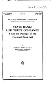 Cover of: State banks and trust companies, since the passage of the National-bank act. | George Ernest Barnett