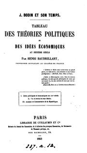 Cover of: J. Bodin et son temps