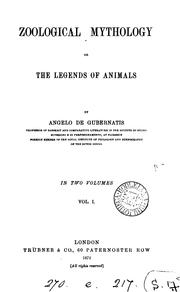 Cover of: Zoological mythology