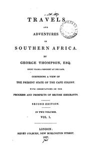 Cover of: Travels and adventures in southern Africa | Thompson, George
