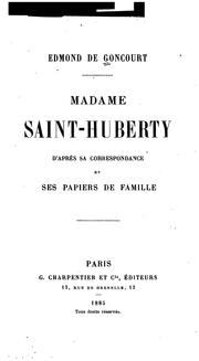 Cover of: Madame Saint-Huberty