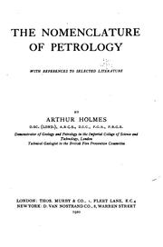 Cover of: The nomenclature of petrology