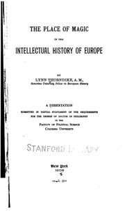 Cover of: The place of magic in the intellectual history of Europe. by Lynn Thorndike