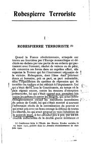 Cover of: Robespierre terroriste