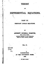 Cover of: Theory of differential equations
