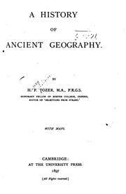 Cover of: A history of ancient geography