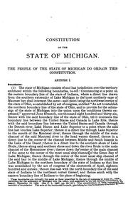 Constitution of the state of Michigan by Michigan.