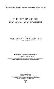 Cover of: On the history of the psycho-analytic movement