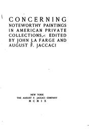 Cover of: Concerning Noteworthy paintings in American private collections