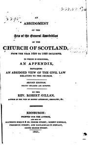 Cover of: An abridgment of the acts of the General Assemblies of the Church of Scotland