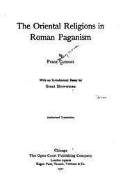 The oriental religions in Roman paganism by Franz Valery Marie Cumont