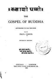 Cover of: The gospel of Buddha according to old records