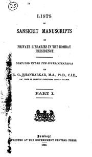 Cover of: Lists of Sanskrit manuscripts in private libraries in the Bombay presidency